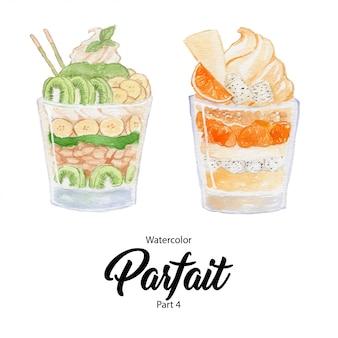 Rgbfruit-parfait-dessert in einem glas