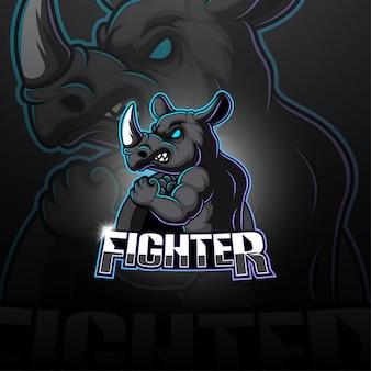 Rhino esport maskottchen logo
