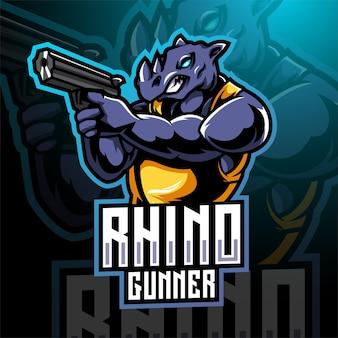 Rhino gunner esport maskottchen logo design