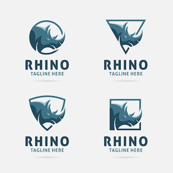 Rhino-logo-design mit rahmen