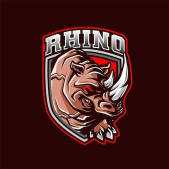 Rhino mascot logo für sport und sport
