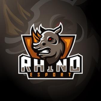 Rhinoceros head gaming logo esport