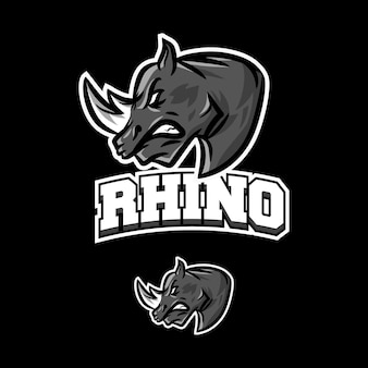 Rhinoceros-logo-maskottchen esportiert spiele
