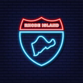 Rhode island state map umriss neonsymbol. vektor-illustration.