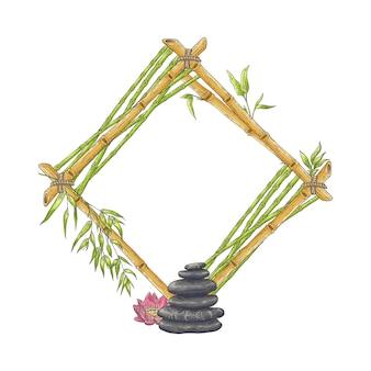 Rhombischer bambusrahmen aus holz mit kieselsteinen und blumen
