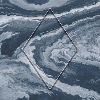 Rhombus-kupferrahmen auf marmorhintergrund