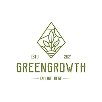 Rhombus-logo-schablone des grünen wachstums