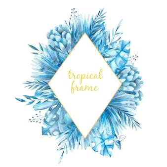 Rhombusrahmen mit tropischen blättern und proteablumen, aquarellillustration
