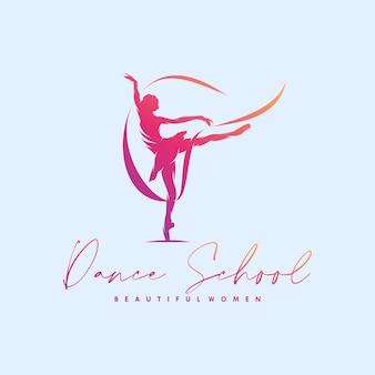 Rhythmische gymnastik mit band-logo-design