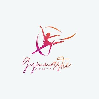 Rhythmische gymnastik mit bandlogo-designvektor