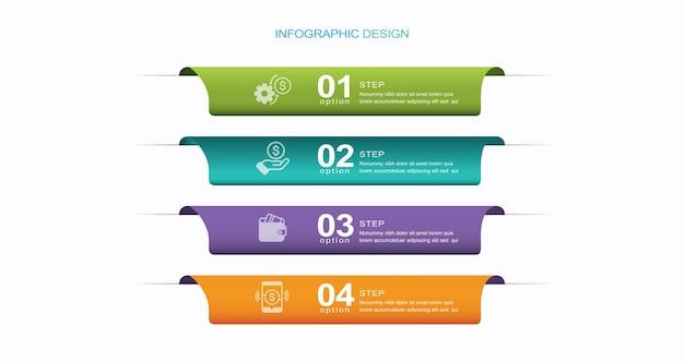 Ribbon-banner-design infografik-etiketten oder -registerkarten mit 4 optionsebenen oder -schritten und platz für text