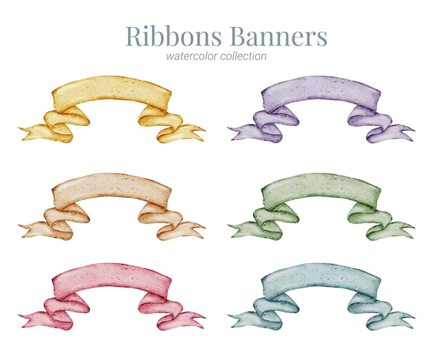 Ribbon banner handfarbe aquarell sammlung
