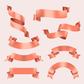 Ribbon banner vektorgrafiken, roségold realistisches etikettendesign