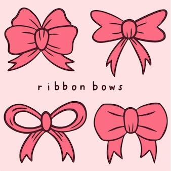 Ribbon bows symbol social media post vector illustration