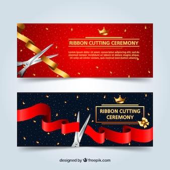 Ribbon schneide zeremonie banner