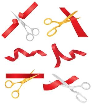 Ribbon & scissors ist ein realistischer moderner vektorsatz verschiedener objekte. weißer hintergrund. verwenden sie diese hochwertigen clipart-elemente für ihr design. schneiden sie das rote band durch, eröffnen sie eine show, ein konzert, einen laden.