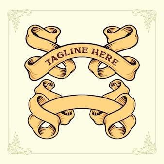 Ribbon vintage banner classic vector illustrationen für ihre arbeit logo, maskottchen-waren-t-shirt, aufkleber und etikettendesigns, poster, grußkarten, werbeunternehmen oder marken.