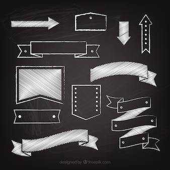 Ribbons rahmen und pfeile sammlung in tafel-stil