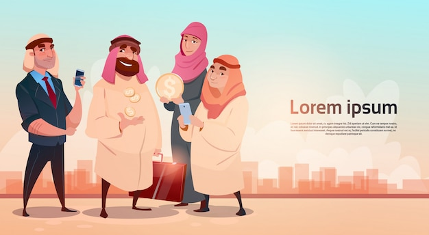 Rich arab geschäftsmann with wife oil extraction geschäftserfolg