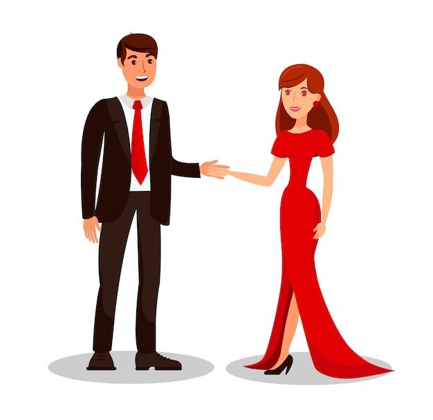 Rich couple auf romantischer datums-vektor-illustration