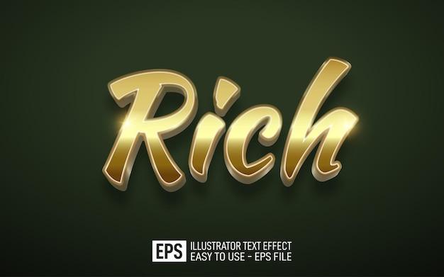 Rich gold 3d-text bearbeitbare stileffektvorlage