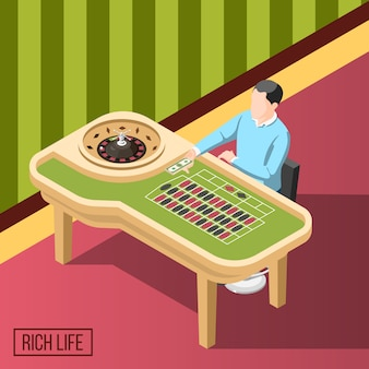 Rich man in casino isometric background