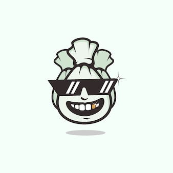 Rich people symbol mit geld-tasche unter verwendung des coolen brillen-maskottchen-logos