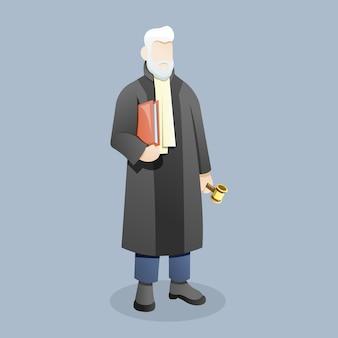 Richter oder anwalt tragen ein dokument mit einem hammer