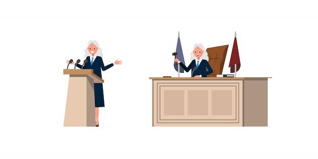 Richterin charakter. präsentation in verschiedenen aktionen.
