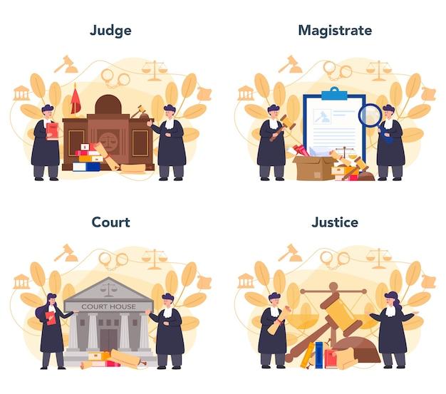 Richterkonzept festgelegt. gerichtsangestellte stehen für gerechtigkeit und recht. richter in traditioneller schwarzer robe. urteils- und bestrafungsidee.