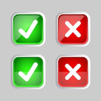 Richtig falsch und häkchen glänzendes symbol akzeptieren und ablehnen. richtig und falsch. grün-roter farbverlauf isoliert