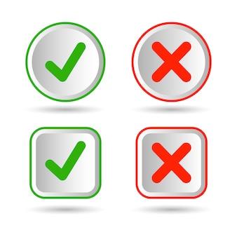 Richtig falsch und häkchensymbole. akzeptieren und ablehnen. richtig und falsch. isoliert auf weißem hintergrund. prämie