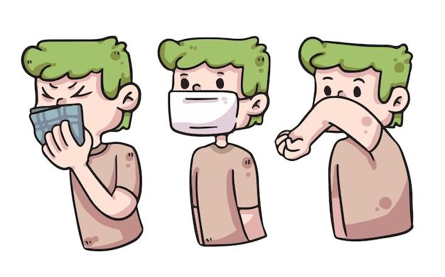 Richtige art und weise abdeckung mund junge süße illustration
