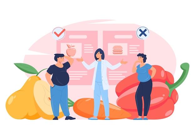 Richtige ernährung diät konzept illustration