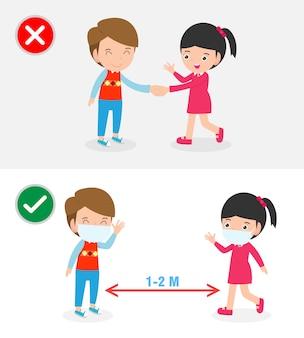 Richtige und falsche methoden und präventionstipps für coronavirus 2019 ncov. kein handschlag und soziale distanzierung, sichere begrüßung kein handschlag kein handkontakt isoliert auf weißer hintergrundillustration.