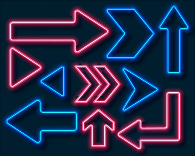 Richtungspfeile im neonstil in roter und blauer farbe