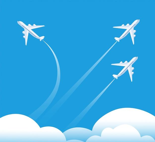 Richtungswechsel konzept. flugzeug in andere richtung fliegen