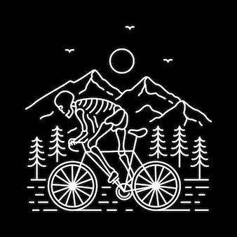Ride or die monoline illustration