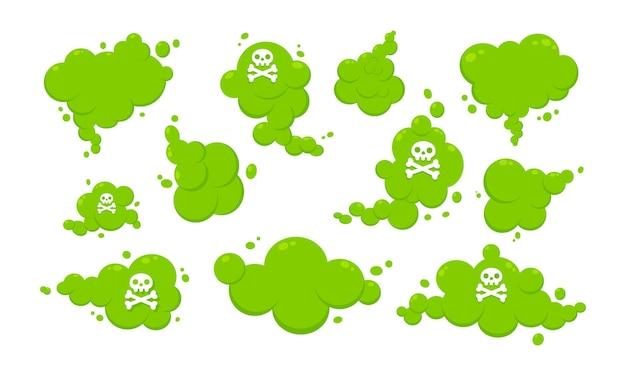Riechende grüne cartoon-furz-wolke flache design-vektor-illustration mit text-furz-set