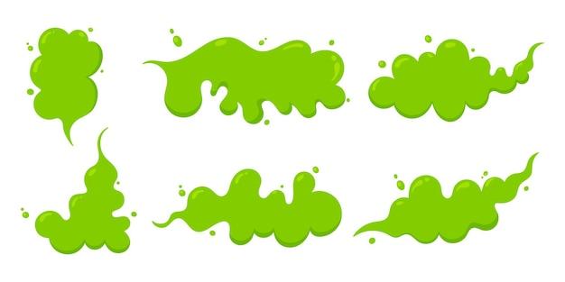Riechende grüne cartoon-furz-wolke flacher stil design-vektor-illustration-set