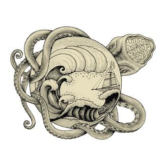 Riesen-oktopus angreifendes schiff und große ozeanwellenhand, die weinlesegravurillustration zeichnen