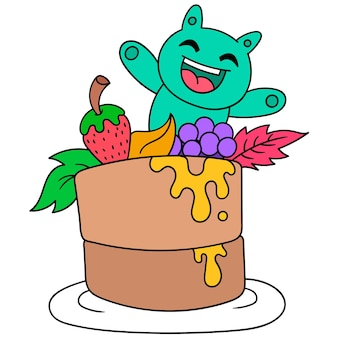 Riesenkuchen zum geburtstag, vektorillustrationskunst. doodle symbolbild kawaii.