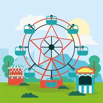 Riesenrad mit kassenhäuschen und zirkuszelt