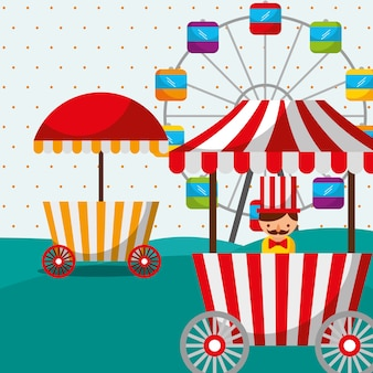 Riesenrad stand lebensmittelverkäufer karneval spaß messe festival