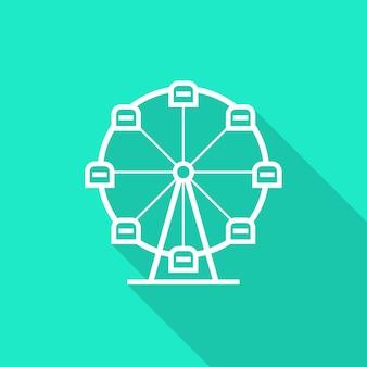 Riesenrad-symbol mit langem schatten. konzept des vergnügungsparks, kirmes, rummelplatz, freizeitaktivität, wirbel. auf grünem hintergrund isoliert. flat style trend moderne logo design vector illustration