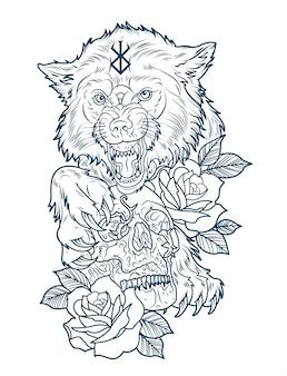 Riesenwolf-berserker mit menschlichem schädel