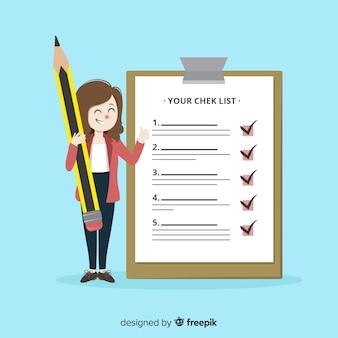 Riesige checkliste der frauencheckliste