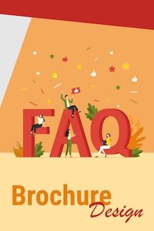 Riesige faq und kleine leute flache vektorillustration. cartoon-benutzer stellen fragen und erhalten hilfe bei problemen. nützliche anweisungen und informationskonzept