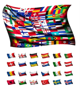 Riesige flagge, bestehend aus verschiedenen ländern. vektor.