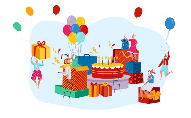 Riesige geburtstagsgeschenkboxen und karikaturfiguren der winzigen leute, feier-party-konzept, illustration